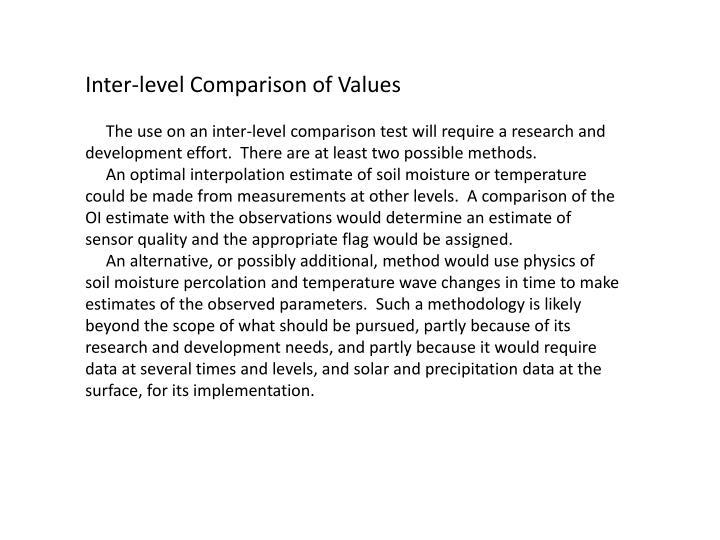 Inter-level Comparison of Values