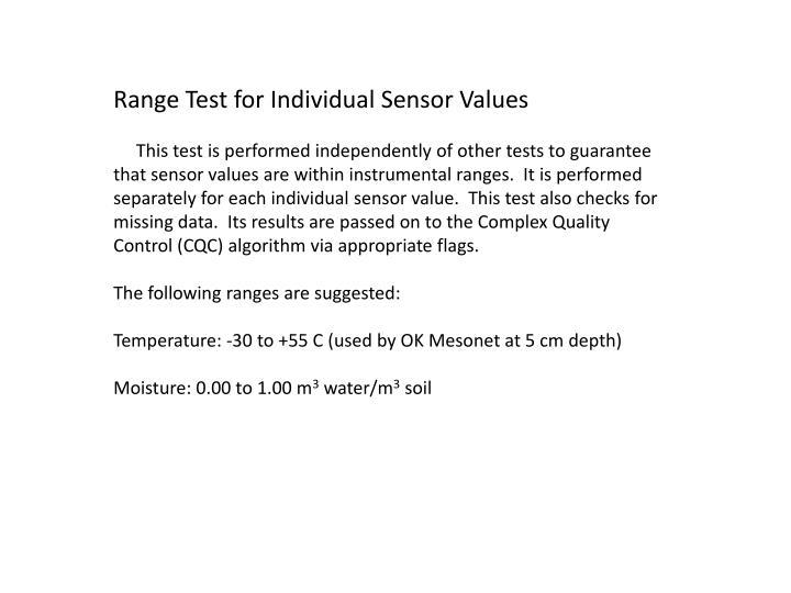 Range Test for Individual Sensor Values