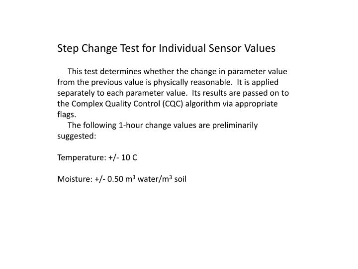 Step Change Test for Individual Sensor Values