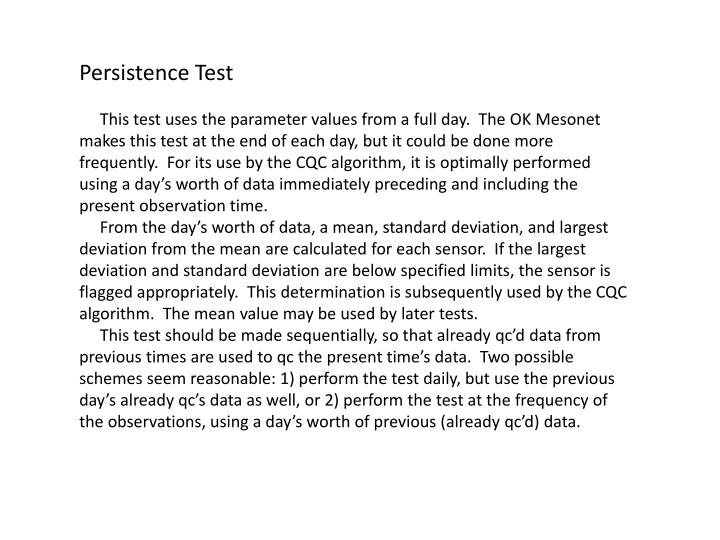 Persistence Test