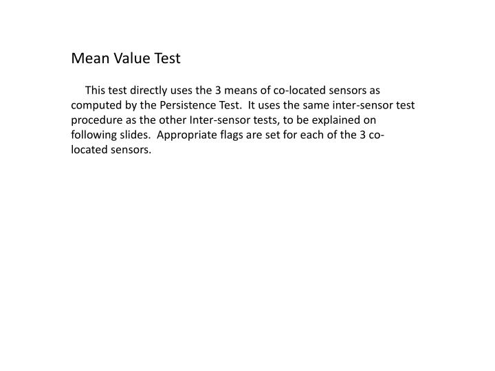 Mean Value Test