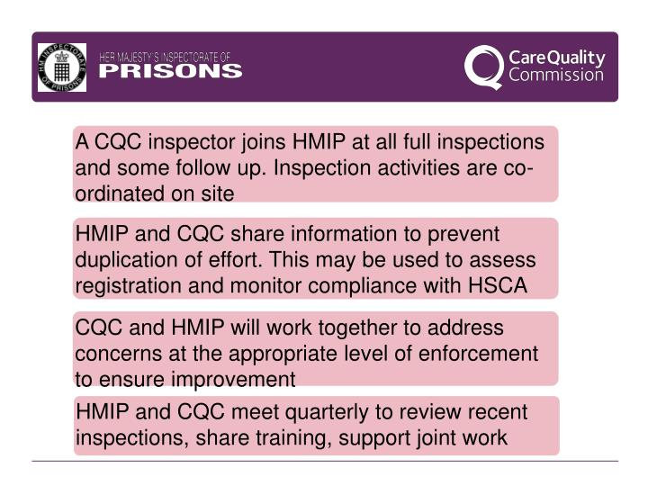 A CQC inspector joins HMIP at all full inspections and some follow up. Inspection activities are co-ordinated on site