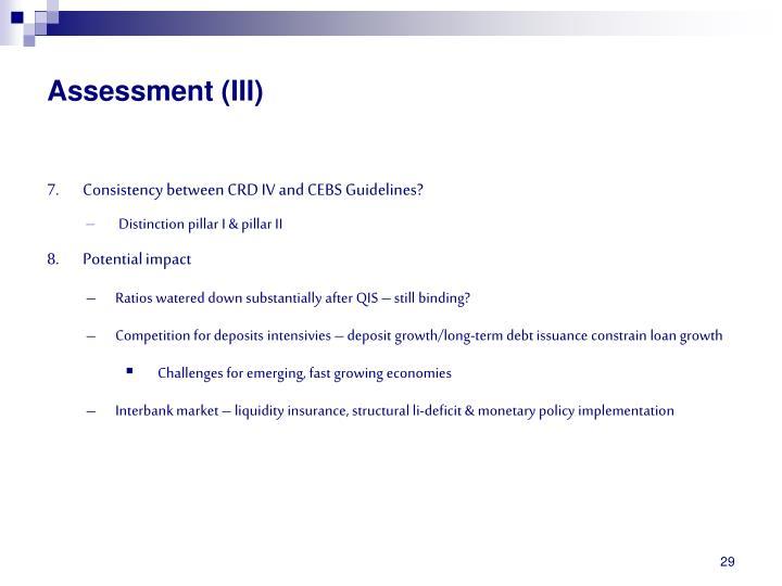 Assessment (III)