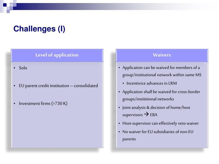 Challenges (I)