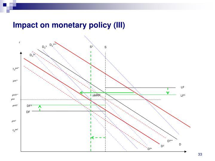 Impact on monetary policy (III)