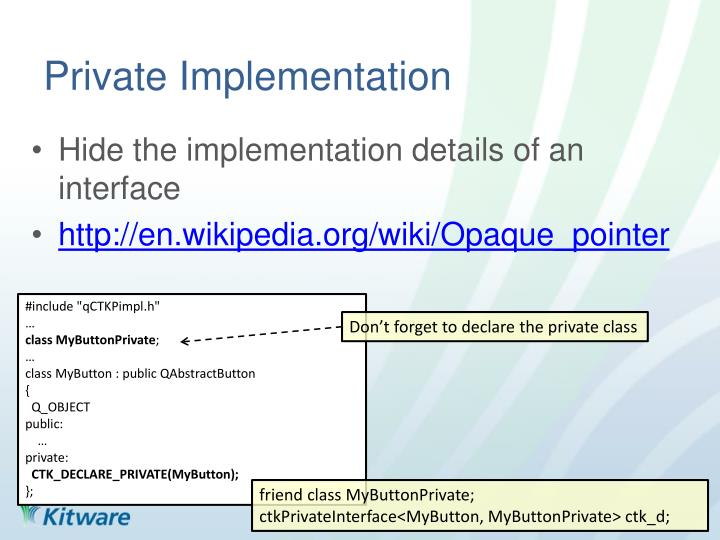 Private Implementation