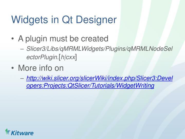 Widgets in Qt Designer