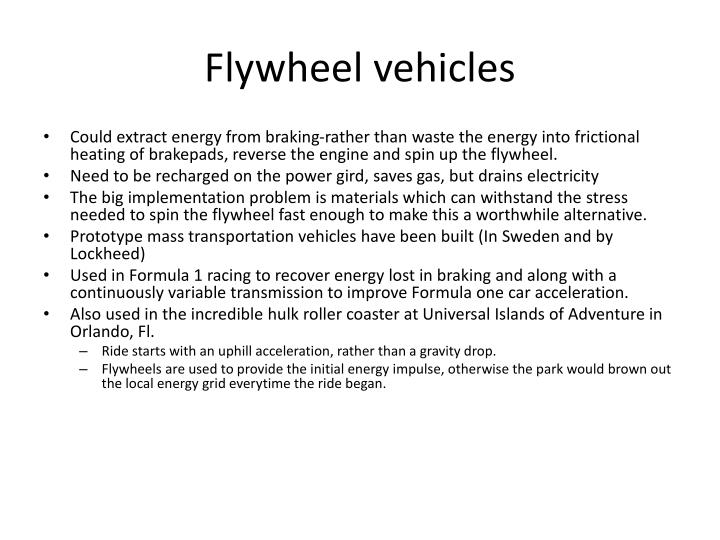 Flywheel vehicles