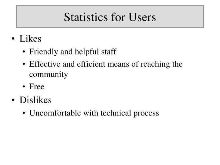 Statistics for Users