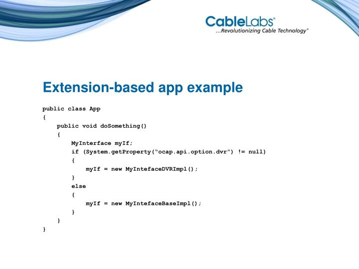 Extension-based app example