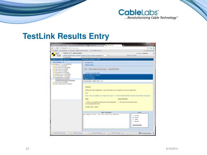 TestLink Results Entry