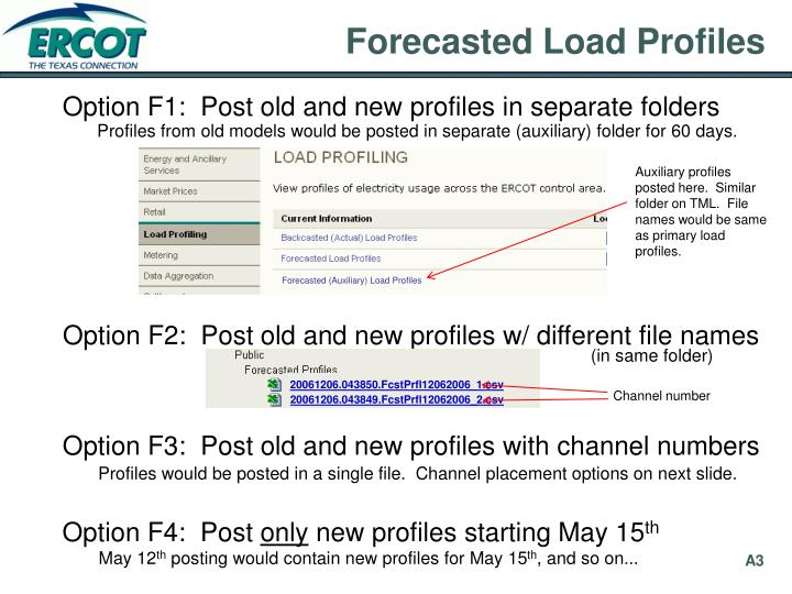 Forecasted (Auxiliary) Load Profiles