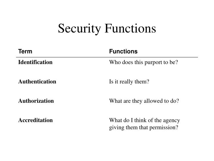 Security functions
