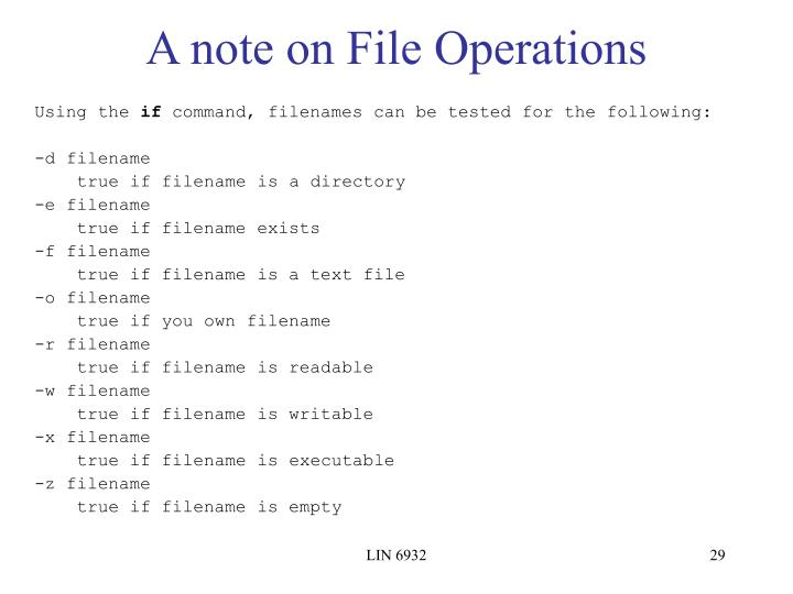 A note on File Operations
