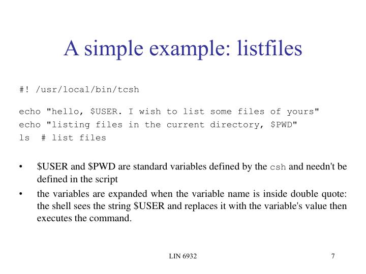 A simple example: listfiles