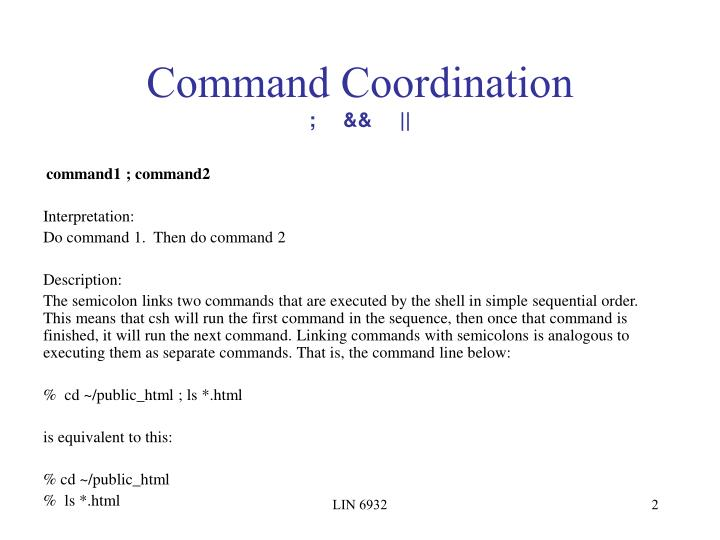 Command coordination