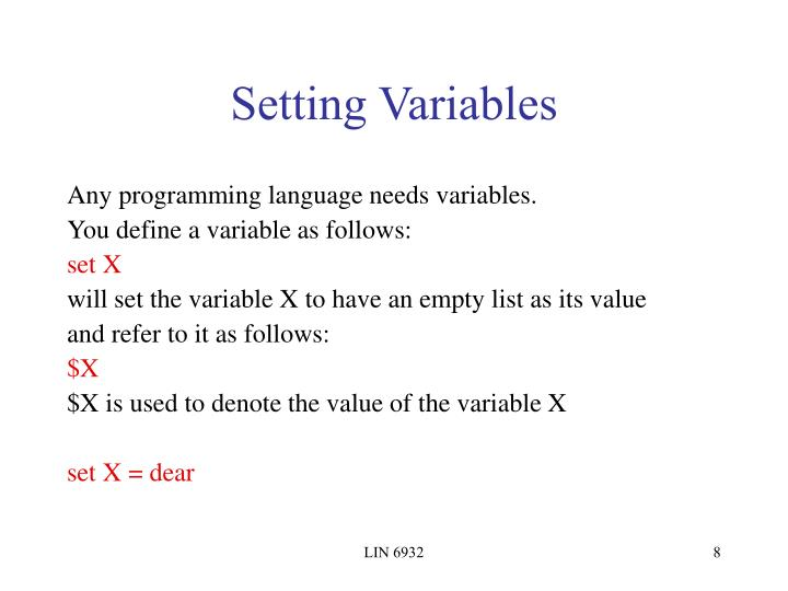 Setting Variables