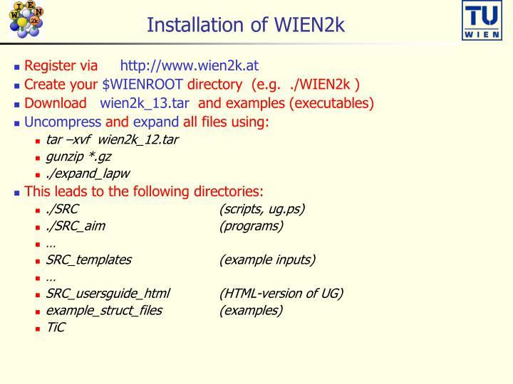 Installation of WIEN2k