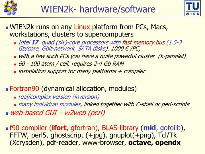 wien2k hardware software
