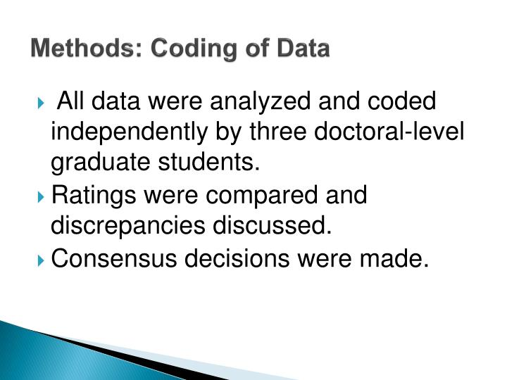 Methods: Coding of Data