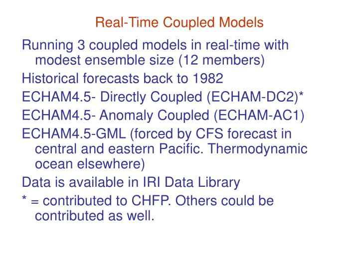 Real time coupled models