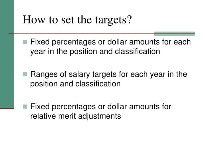 How to set the targets?