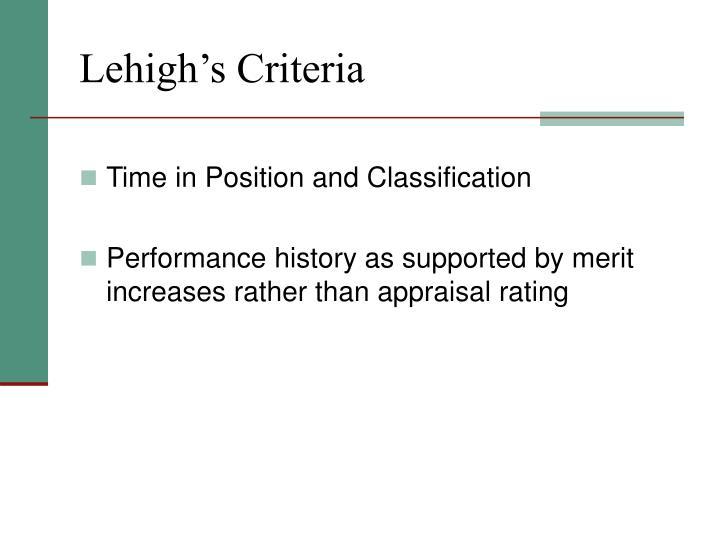 Lehigh's Criteria