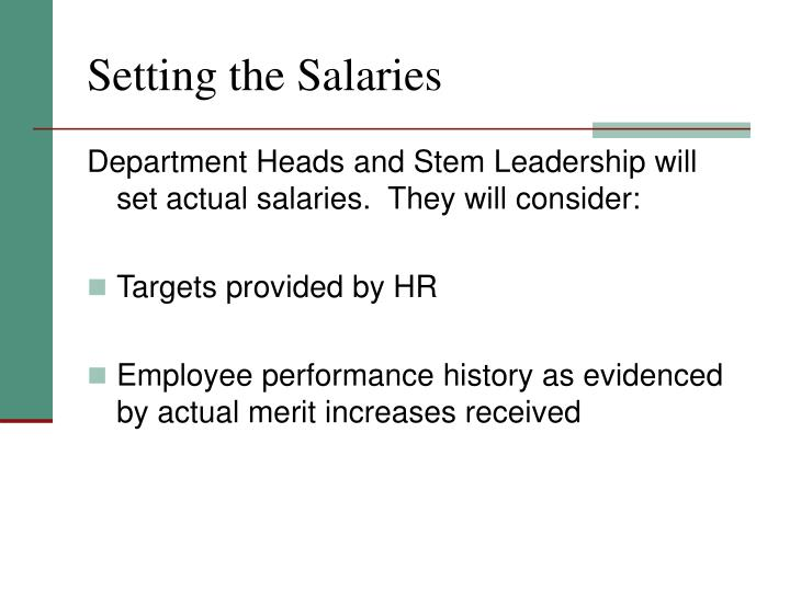 Setting the Salaries