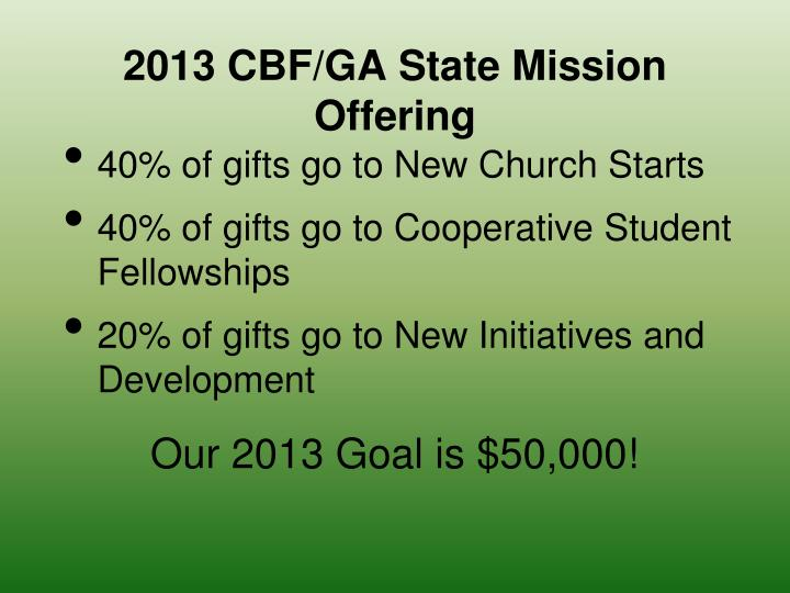 2013 CBF/GA State Mission Offering