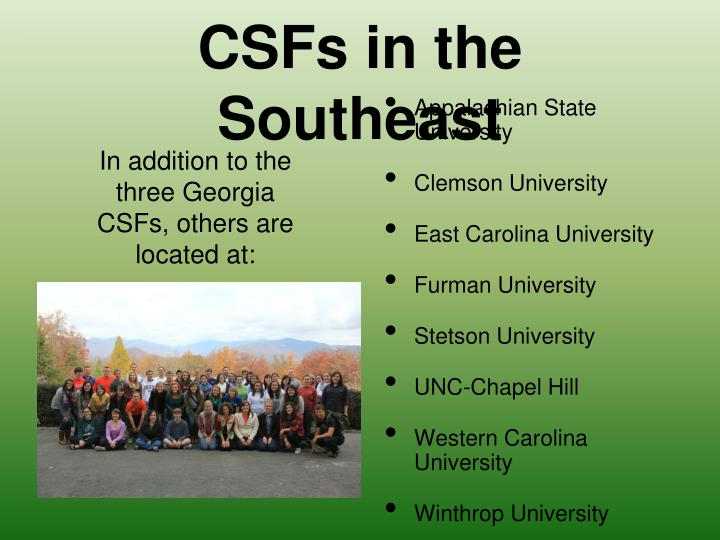 CSFs in the Southeast