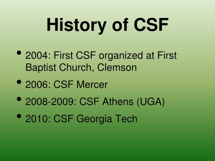History of CSF