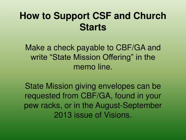 How to Support CSF and Church Starts