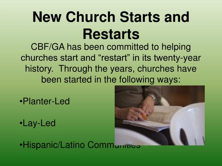 New Church Starts and Restarts