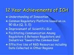 12 year achievements of ich