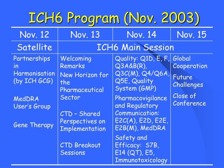 ICH6 Program (Nov. 2003)