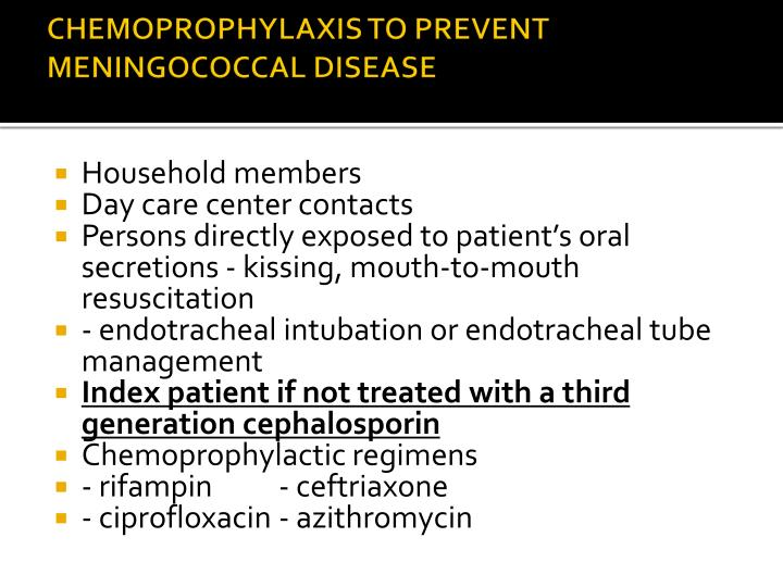 CHEMOPROPHYLAXIS TO PREVENT
