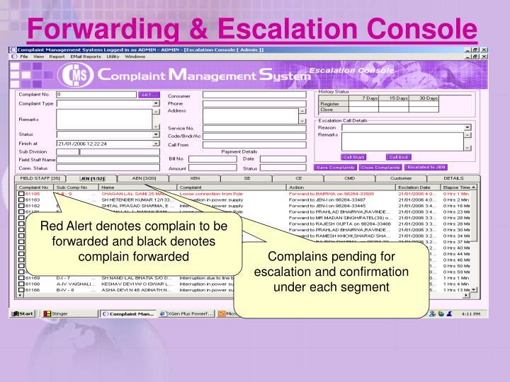 Forwarding & Escalation Console