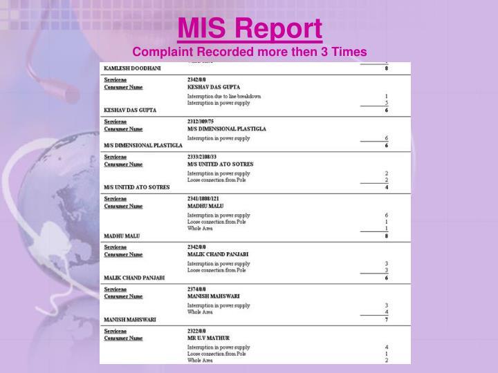 MIS Report