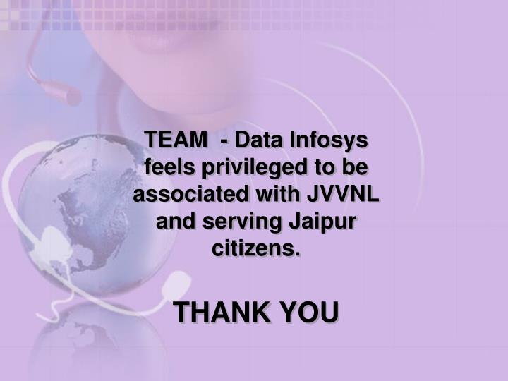 TEAM  - Data Infosys feels privileged to be associated with JVVNL and serving Jaipur citizens.