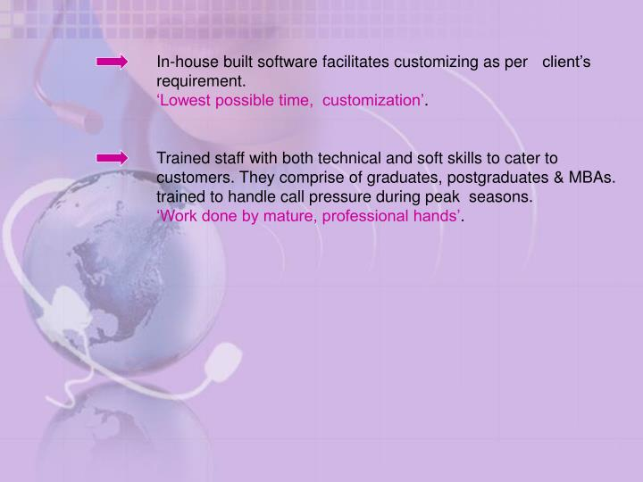In-house built software facilitates customizing as per client's requirement.