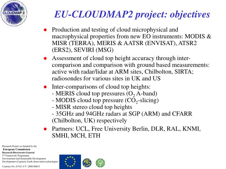 Eu cloudmap2 project objectives