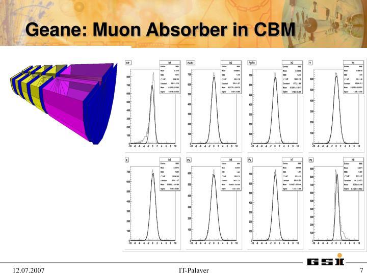Geane: Muon Absorber in CBM
