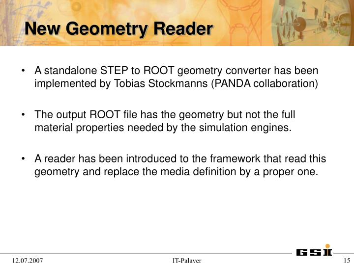 A standalone STEP to ROOT geometry converter has been implemented by Tobias Stockmanns (PANDA collaboration)