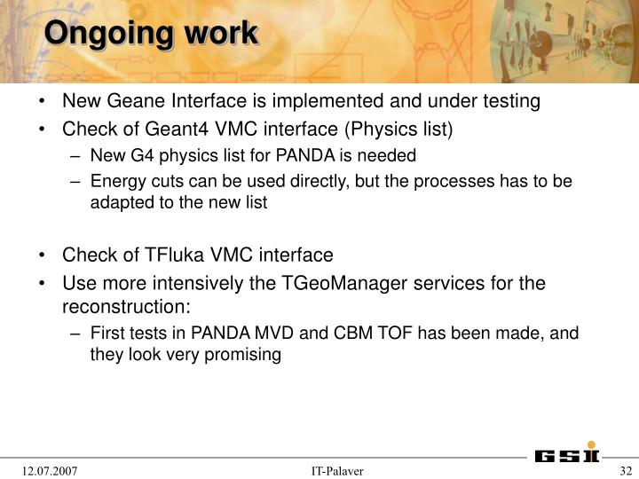 New Geane Interface is implemented and under testing