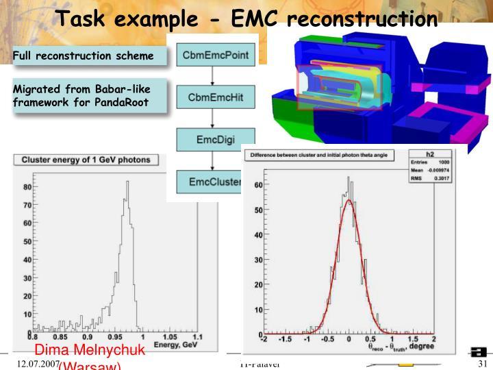 Task example - EMC reconstruction