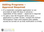 adding programs approval required2