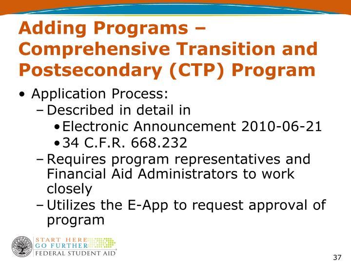 Adding Programs –