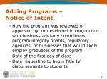 adding programs notice of intent1