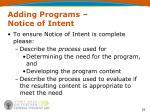 adding programs notice of intent2