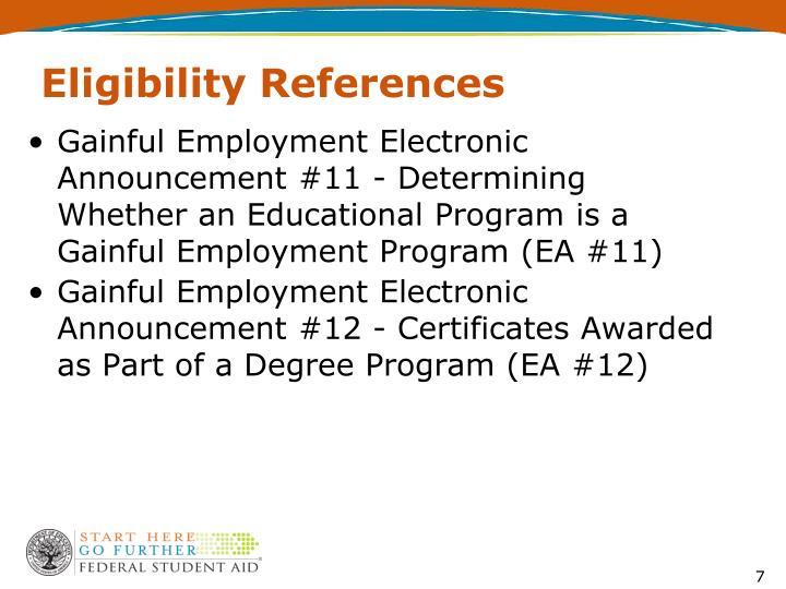 Eligibility References